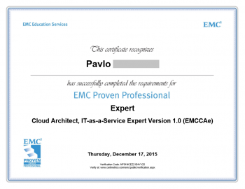 Cloud Architect as a Service Expert EMCCAE Certificate