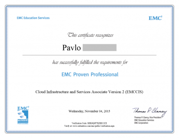 Cloud Infrastructure and Services Associate EMCCIS Certificate