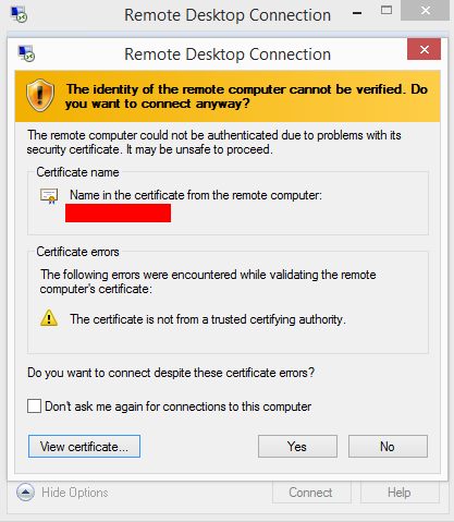 Remote Desktop Connection error