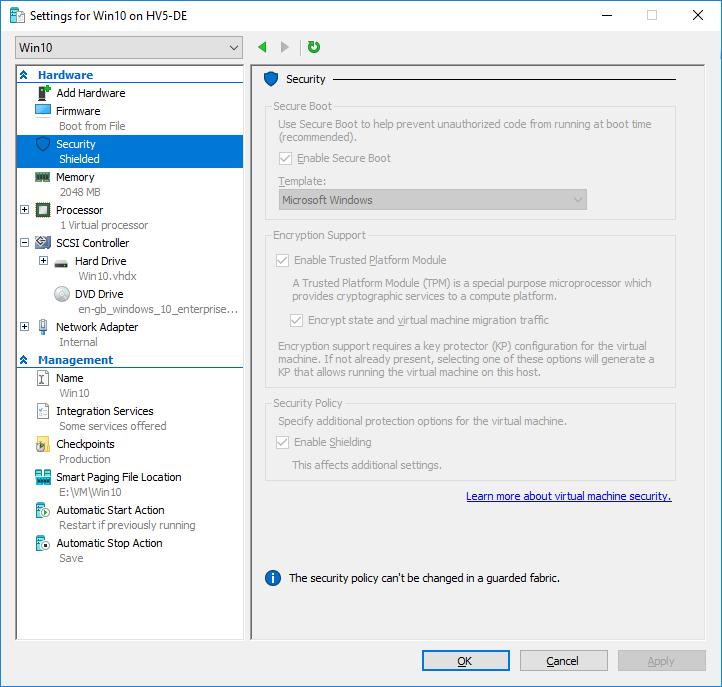 Проверка работы Shielded VM