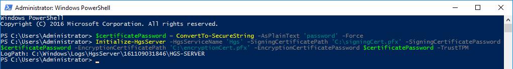 Инициализация HGS сервера