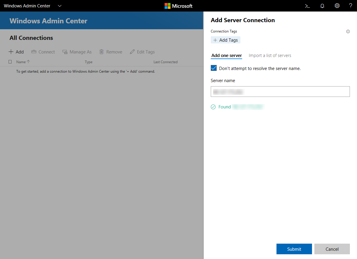 Screen Windows Admin Center