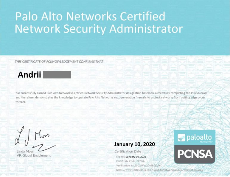 Palo Alto Networks Certified Network Security Administrator certificate-1